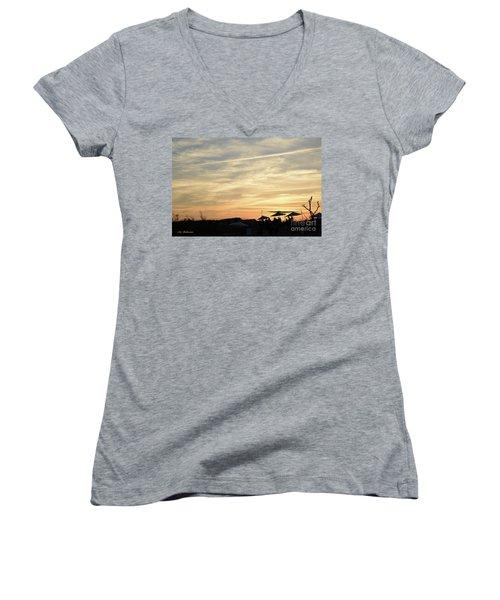 Sunset View Women's V-Neck T-Shirt (Junior Cut) by Arik Baltinester