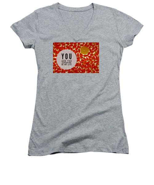 Women's V-Neck T-Shirt (Junior Cut) featuring the photograph Sunshine by Bobby Villapando