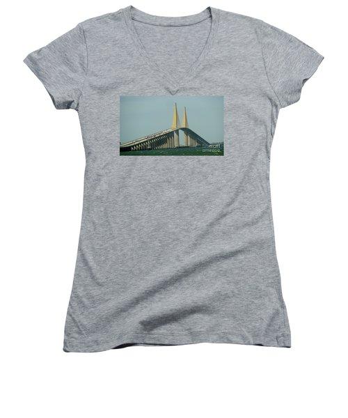 Sunshine Skyway Bridge Women's V-Neck T-Shirt (Junior Cut) by Donna Brown