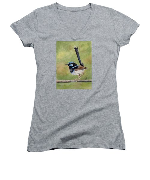 Superb Fairy Wren Women's V-Neck T-Shirt