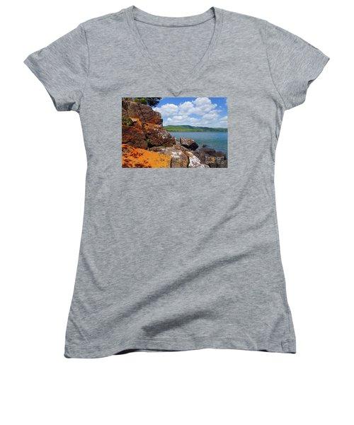 Superior Lichens Women's V-Neck T-Shirt (Junior Cut) by Sandra Updyke