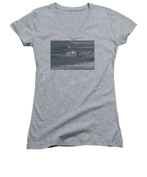 Women's V-Neck T-Shirt (Junior Cut) featuring the photograph Photographs Of Cornwall Surfers At Fistral by Brian Roscorla
