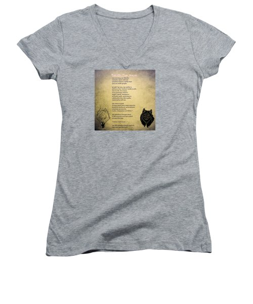 Tale Of Two Wolves - Art Of Stories Women's V-Neck T-Shirt (Junior Cut) by Celestial Images