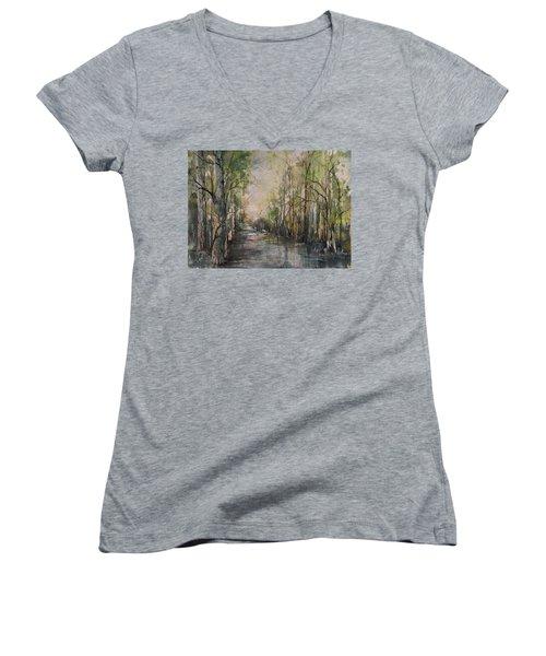 Bayou Liberty Women's V-Neck T-Shirt (Junior Cut) by Robin Miller-Bookhout