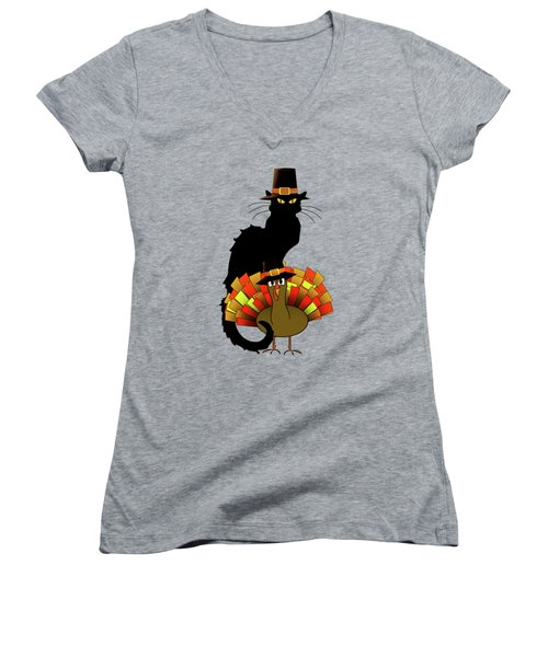 Thanksgiving Le Chat Noir With Turkey Pilgrim Women's V-Neck (Athletic Fit)