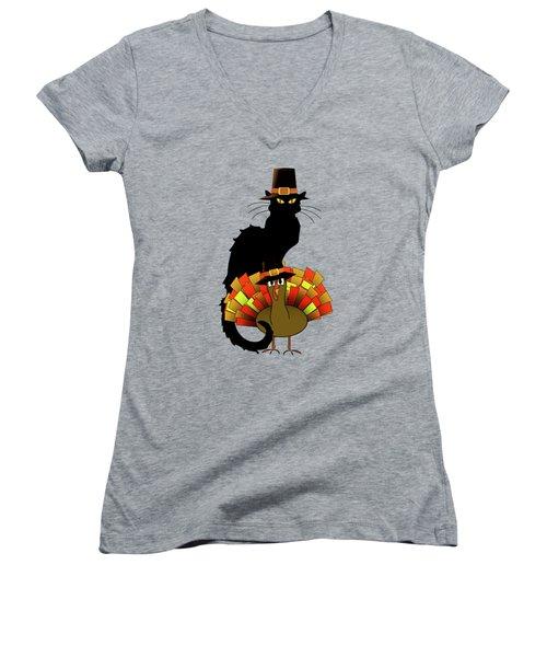 Thanksgiving Le Chat Noir With Turkey Pilgrim Women's V-Neck T-Shirt