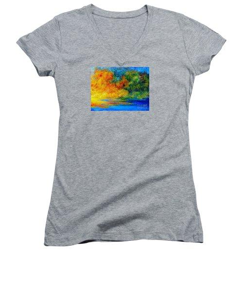 Memories Of Summer Women's V-Neck T-Shirt (Junior Cut) by Teresa Wegrzyn