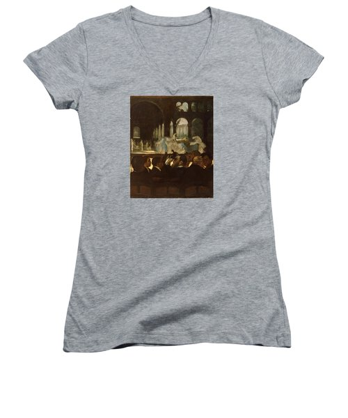 Women's V-Neck T-Shirt (Junior Cut) featuring the painting The Ballet From Robert Le Diable by Edgar Degas