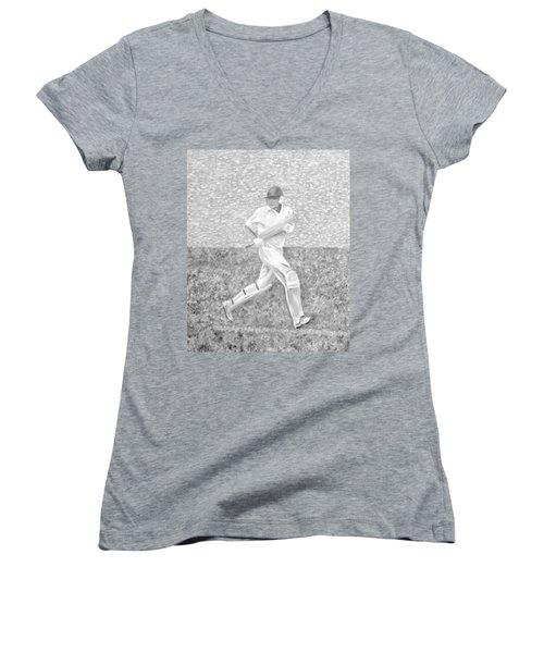 Women's V-Neck T-Shirt featuring the mixed media The Batsman by Elizabeth Lock