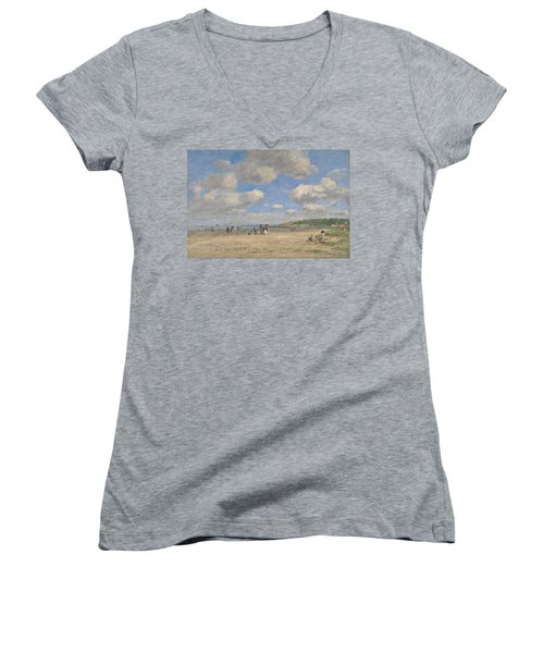 The Beach At Tourgeville Les Sablons Women's V-Neck T-Shirt