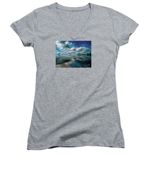 Women's V-Neck T-Shirt (Junior Cut) featuring the photograph The Dream by Elfriede Fulda