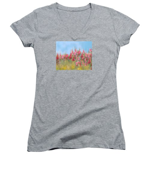 The Earth Laughs In Flowers Women's V-Neck T-Shirt (Junior Cut) by Colleen Taylor
