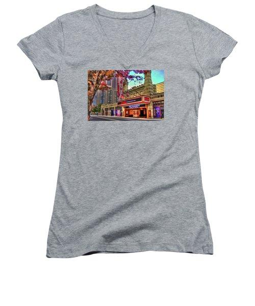 The Fabulous Fox Theatre Atlanta Georgia Art Women's V-Neck T-Shirt (Junior Cut) by Reid Callaway