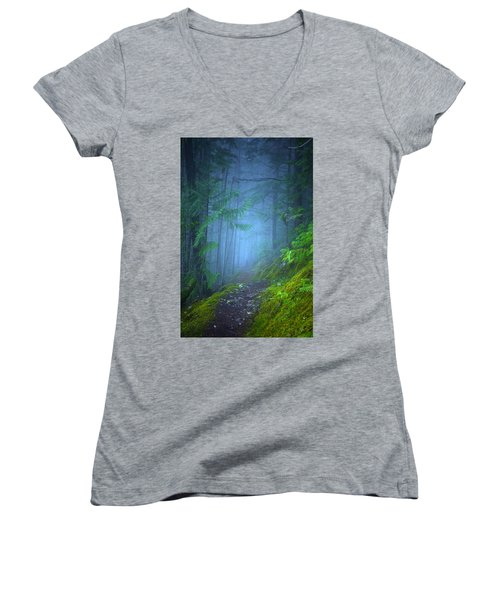 Women's V-Neck T-Shirt (Junior Cut) featuring the photograph The Forest Blues by Tara Turner