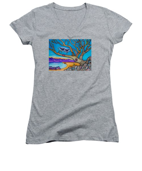 Women's V-Neck T-Shirt (Junior Cut) featuring the painting The Kiss And Love Is All There Is by Lori Miller
