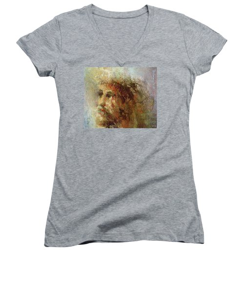 Women's V-Neck featuring the painting The Lamb by Andrew King