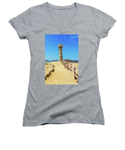 The Lighthouse In Salinas, Ecuador Women's V-Neck T-Shirt (Junior Cut) by Marek Poplawski