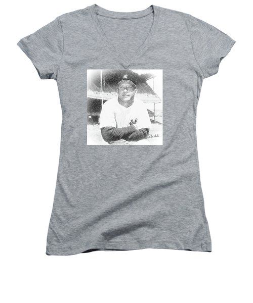 Mickey Mantle Women's V-Neck (Athletic Fit)
