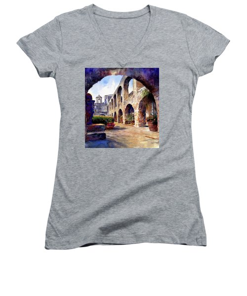 Women's V-Neck featuring the painting The Mission by Andrew King