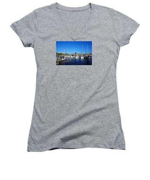 The Naples City Dock Women's V-Neck