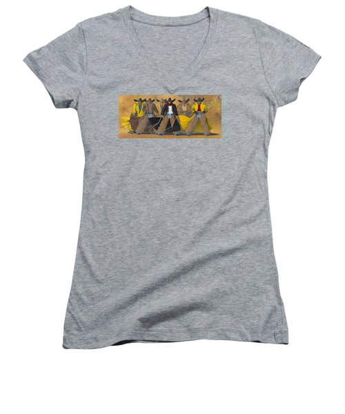 Women's V-Neck T-Shirt (Junior Cut) featuring the painting The Posse by Lance Headlee