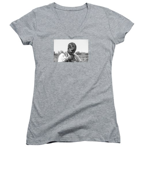 Women's V-Neck T-Shirt (Junior Cut) featuring the photograph The Shy One by Pravine Chester