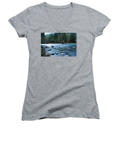 Women's V-Neck T-Shirt (Junior Cut) featuring the photograph The Snowqualmie River by Jeff Swan