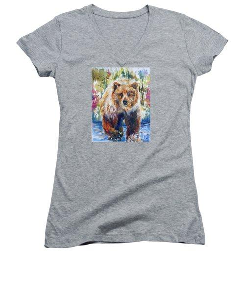 The Summer Bear Women's V-Neck T-Shirt (Junior Cut) by P Maure Bausch