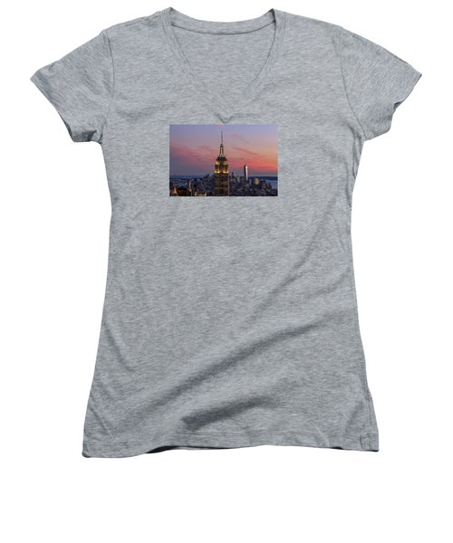 Women's V-Neck T-Shirt (Junior Cut) featuring the photograph The View by Anthony Fields