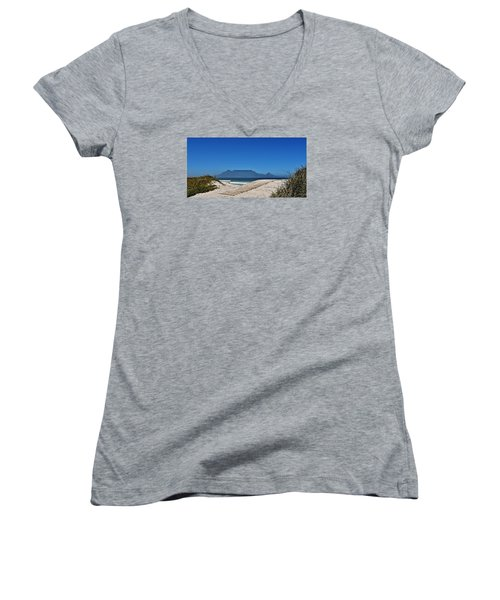 Women's V-Neck T-Shirt (Junior Cut) featuring the photograph The View At Table Mountain by Werner Lehmann