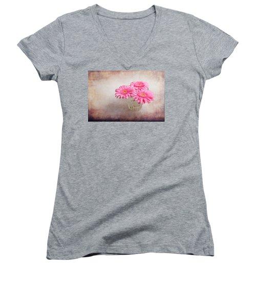 Three Of Us Women's V-Neck T-Shirt (Junior Cut) by Randi Grace Nilsberg