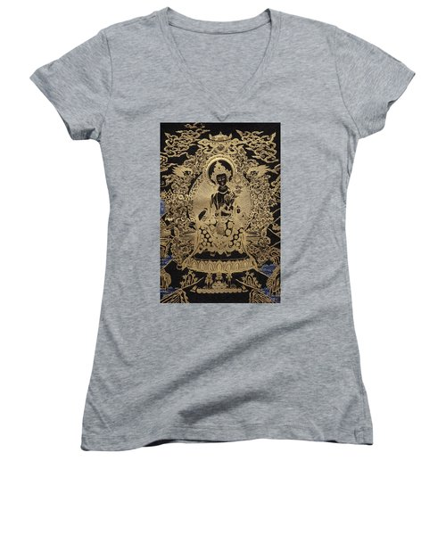 Tibetan Thangka  - Maitreya Buddha Women's V-Neck T-Shirt (Junior Cut) by Serge Averbukh