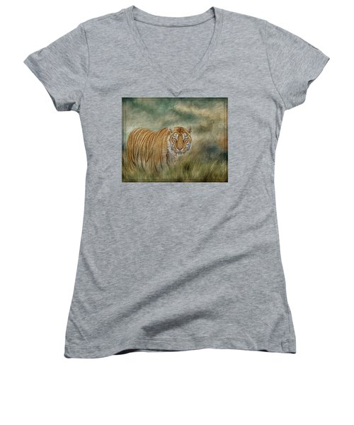 Tiger In The Grass Women's V-Neck