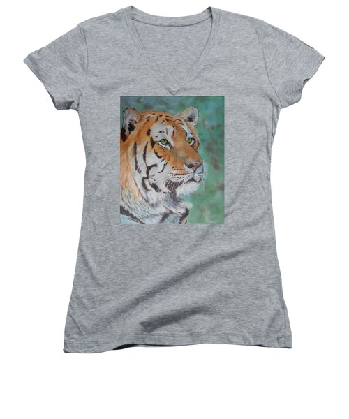 Tiger Portrait Women's V-Neck (Athletic Fit)