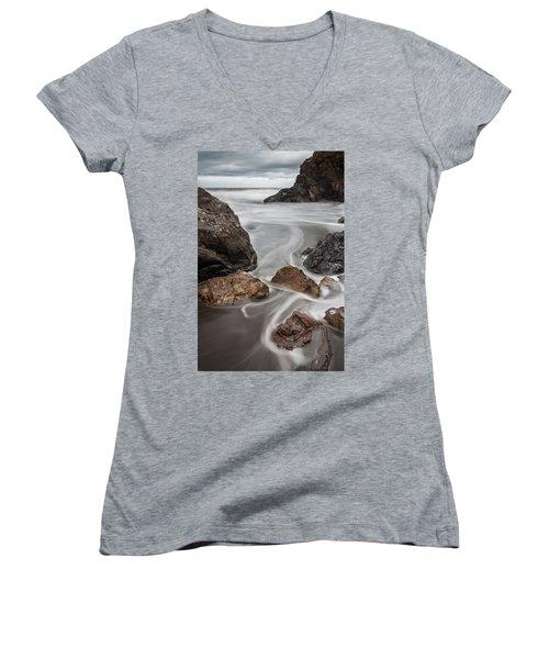 Time And Tide Women's V-Neck T-Shirt (Junior Cut) by Mark Alder
