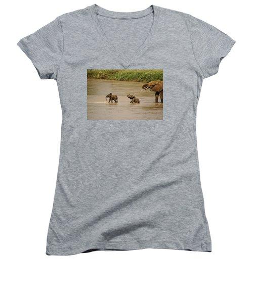 Tiny Elephants Women's V-Neck (Athletic Fit)