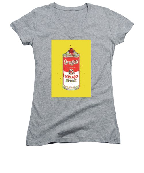 Tomato Spray Can Women's V-Neck T-Shirt (Junior Cut) by Gary Grayson
