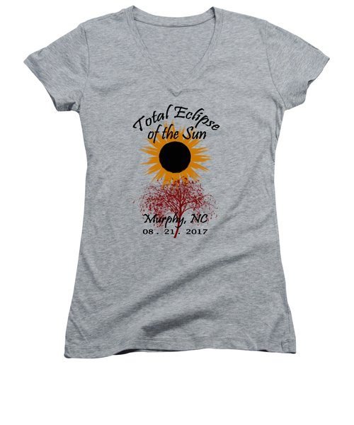 Total Eclipse T-shirt Art Murphy Nc Women's V-Neck (Athletic Fit)