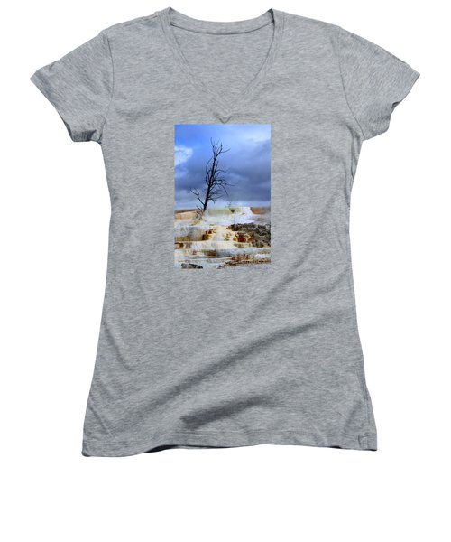 Women's V-Neck T-Shirt (Junior Cut) featuring the photograph Travertine Terraces by Irina Hays