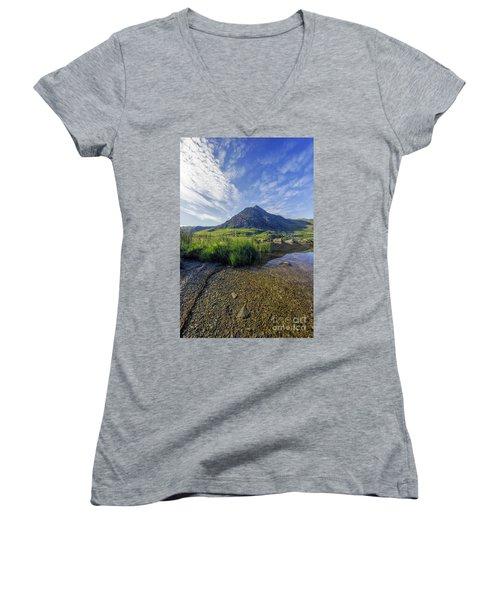 Tryfan Mountain Women's V-Neck T-Shirt (Junior Cut) by Ian Mitchell