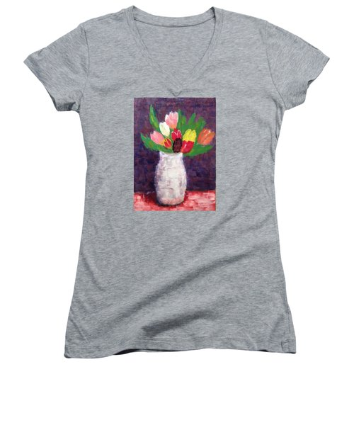 Tulips Women's V-Neck T-Shirt (Junior Cut) by Tamara Savchenko