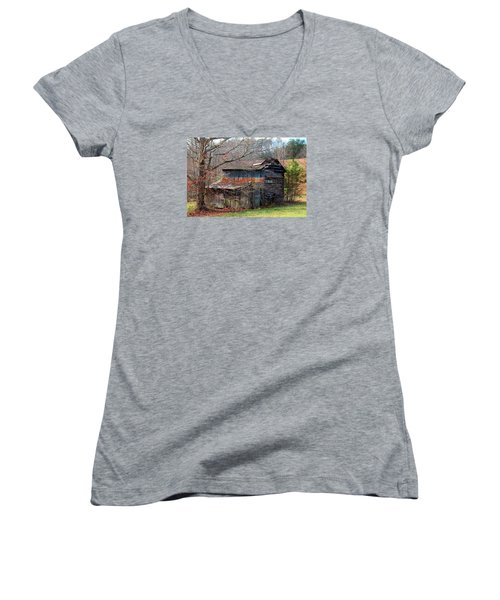 Tumbledown Barn Women's V-Neck T-Shirt (Junior Cut) by Kathryn Meyer