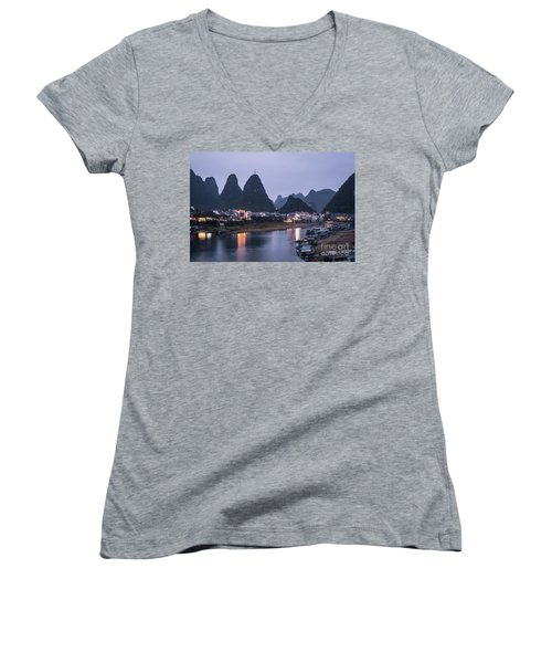 Twilight Over The Lijang River In Yangshuo Women's V-Neck