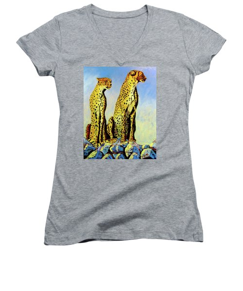 Two Cheetahs Women's V-Neck (Athletic Fit)