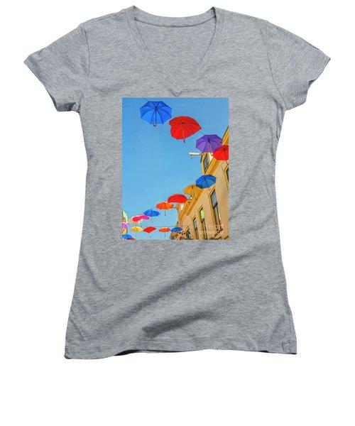 Umbrellas In The Sky Women's V-Neck T-Shirt