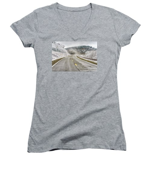 Women's V-Neck T-Shirt (Junior Cut) featuring the photograph Unexpected Autumn Snow Highland Scenic Highway by Thomas R Fletcher