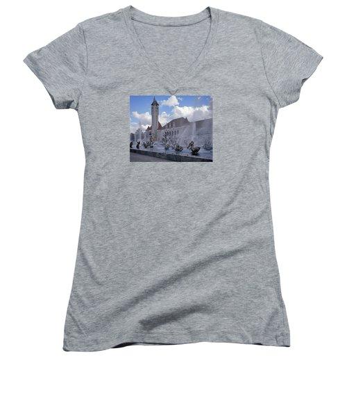 Women's V-Neck T-Shirt (Junior Cut) featuring the photograph Union Station - St Louis by Harold Rau