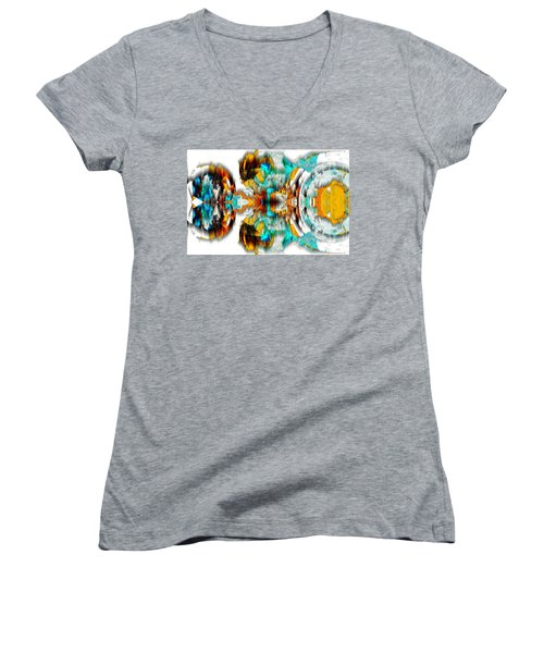 Women's V-Neck T-Shirt featuring the digital art Untitled Series 992.042212 -c by Kris Haas