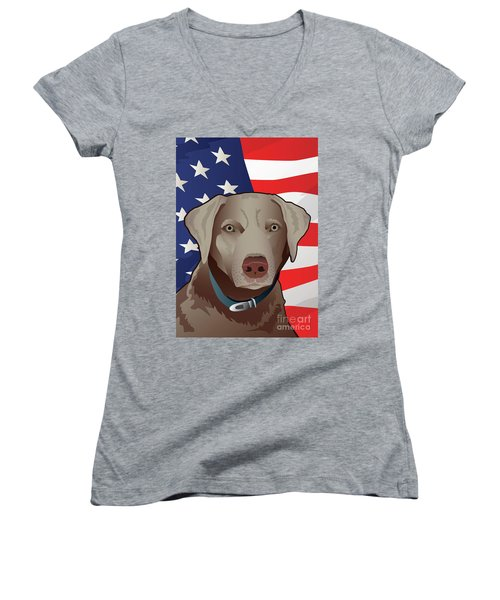 Usa Silver Lab Women's V-Neck T-Shirt