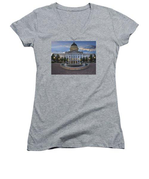 Utah State Capitol Building Women's V-Neck T-Shirt (Junior Cut) by Utah Images
